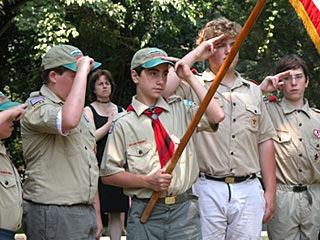 Boy Scouts lead Pledge of Allegiance at local 4th of July parade.