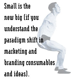 Small is the new big (if you understand the  paradigm shift in marketing and branding consumables and ideas).