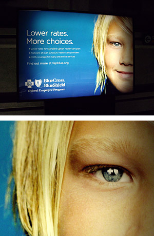 Top: Blue Cross backlighted ad, Bottom: Detail of the eye