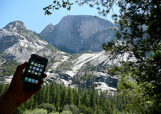 My iPhone at Half Dome