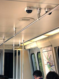 Camera on a Metro subway car